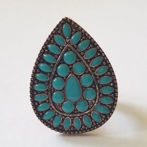 Copper & turquoise Tear Drop Ring Stretch Fit 8.5